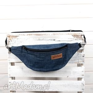 Nerka dzinsowa z karabończykami , torebka, saszetka, dżinsowa, jeans, denim, nerka