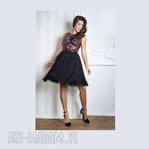 sukienki sukienka cora midi czarna, midi, koronka, cekiny, tiul, wesele, studniówka