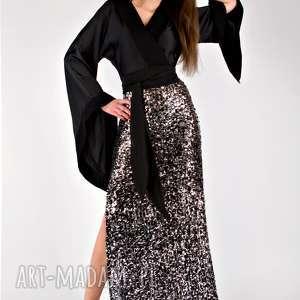 sukienki glow - jedwabna sukienka z cekinami