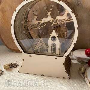 dekoracje kula śnieżna z reniferami, śnieżna, renifery, drewniana ozdoba