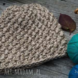 Czapka handmade beżowa, czapka, wełna, zrobiona-na-drutach, melanż, ciepła
