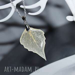 kryształowy liść topoli, listek, drzewko, wisior, wisiorek, jesień, żywica
