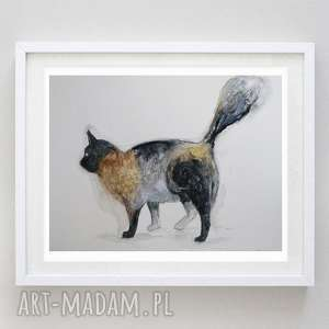 brązowy -abstrakcja,akwarela formatu 21/28 cm, kot, brązowy, papier, akwarela
