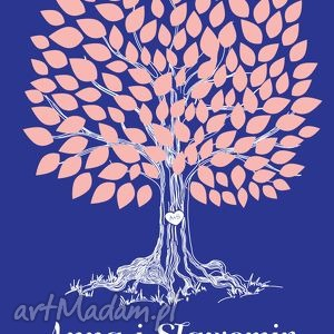 Romantyczne drzewo wpisów - 50x70 cm Plakat na wesele, ślub, rocznicę, urodziny