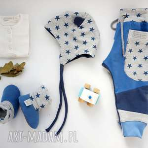 Prezent BABY SHOWER SET gwiazdy (spodnie czapka bambosze), komplet, zestaw, bawełna
