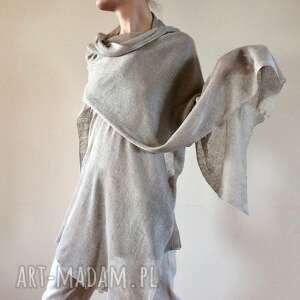 Anna Damzyn! Klasyczny naturalny lniany szal
