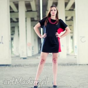 ręcznie zrobione sukienki unikat!!! Sukienko-tunika stripe me! Red