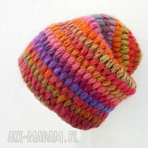 czapka hand made no 025 beanie szydło - wełna, ciepła, oryginalna