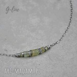 krótki naszyjnik z zielonym szkłem antycznym 091, surowa biżuteria, szkło