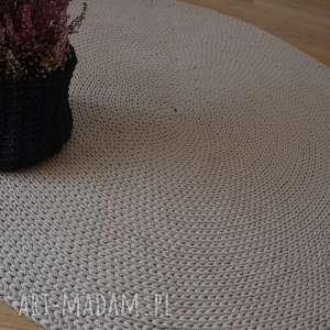 dywan okrągły ze sznurka bawełnianego - beż 120 cm, dywan, szydełko