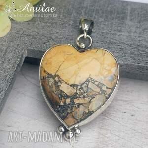 antilae wisior serce, jaspis maligano, srebrne