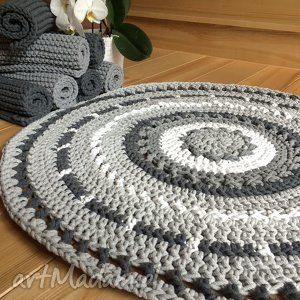 Okrągły dywan azur o średnicy 90 cm motkovo dywan, ze sznurka