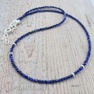 lapis lazuli - delikatny naszyjnik, lapis, srebro naszyjniki