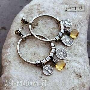 srebro i cytryn - kolczyki koła boho, duże kolczyki, długie boho