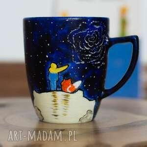 malowany kubek mały książę lis i róża, książę, porcelana malowana