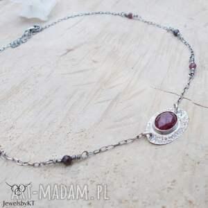 naszyjniki rubinowy choker - naszyjnik, srebrny krótki naszyjnik