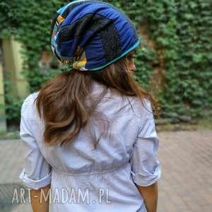 czapka damska dzianina smerfetka uniwersalna - czapka, etno, boho, kolorowa, patchwork