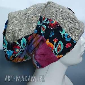 Czapka turbanowa etno boho patchwork czapki ruda klara czapka