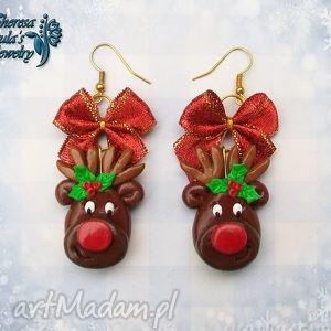 świąteczne kolczyki rudolf czerwononosy na prezent, kolczyki, modelina