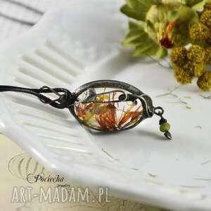 ORANGE PETALS - NASZYJNIK Z PŁATKAMI KWIATÓW, naszyjnik, wisior, kwiaty, płatki