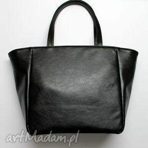 hand-made na ramię shopper bag worek - czarny z połyskiem