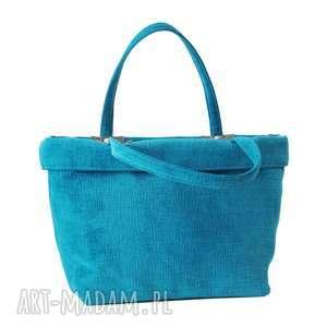 37-0003 Turkusowa torebka shopper bag 3w1 / ekologiczna torba na zakupy OWL