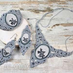 komplet biżuterii - naszyjnik, kolczyki i bransoletka w odcieniach szarości