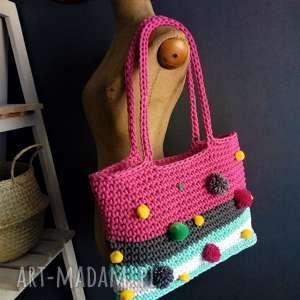 ręcznie wykonane na ramię torba-koszyk bohostyle
