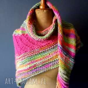 chusta boho style, szal, chusta, wełna, na drutach, kolorowa, ciepłachusta