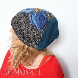 czapka handmade czesanką filcowane czapki - czapka, wełna, kwiaty, mama, prezent