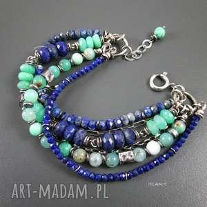 bogata z chryzoprazem i lapis lazuli, lapis, chryzopraz, srebro bransoletki