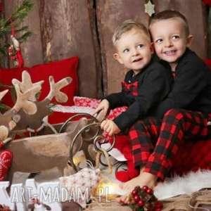 Upominek świąteczny! Spodnie dla chłopca świąteczna czerwona