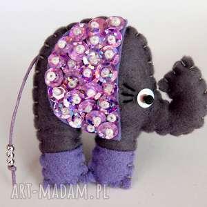cekinowy słoń broszka z filcu, filc, słoń, broszka, błyszczący, cekiny, dziecko