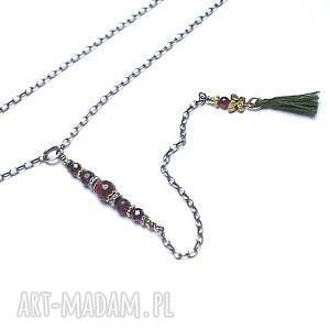 kreska /owocaki/ - naszyjnik, srebro, delikatny, granaty, rubin, chwost naszyjniki