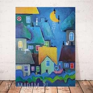 BAJKOWE MIASTECZKO - obraz akrylowy formatu 30/40 cm, akryl, miasteczko, koty,
