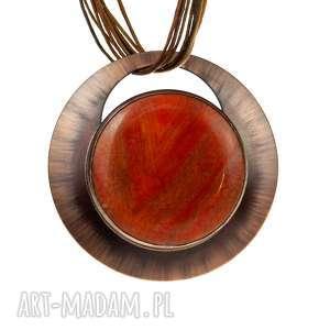 Prezent Pomarańczowy agat oprawiony miedzią naszyjnik c618, biżuteria-z-agatem