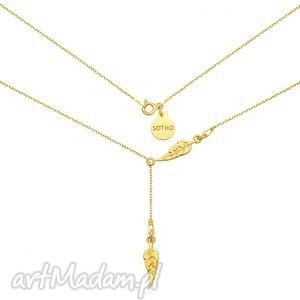 złoty regulowany naszyjnik z piórkami - minimalistyczny pozłacany