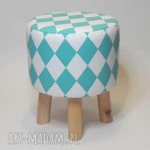 handmade pufa turkusowy arlekin - 36