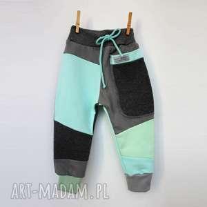 patch pants spodnie 74 - 98 cm grafit błękit, dres, ciepłe spodnie, prezent, bawełna