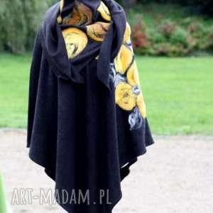 poncho czarne damskie filcowane, poncho, płaszcz, sweter, kwiaty