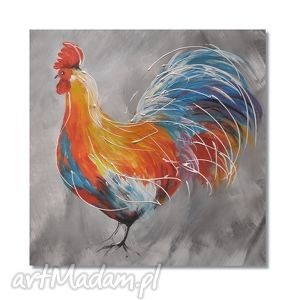 kogut, obraz ręcznie malowany, obraz, ręcznie, dekoracja, folk