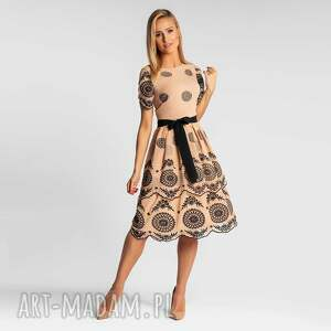 sukienka elzna midi bellisa beżowo-czarna, midi, rozkloszowana, elegancka