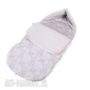 ręcznie zrobione dla dziecka śpiworek łapacze szary