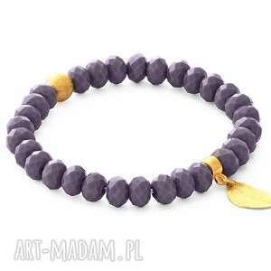 Violet crystal with leaf pendant. - ,kryształki,listek,