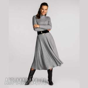 sukienka sibel total midi szarość, dzianina, półgolf, golf, dzianinowa