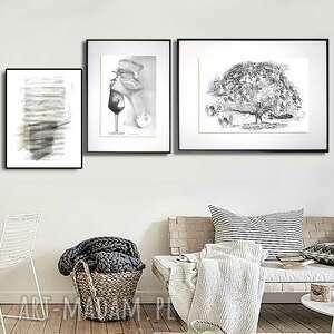 grafika w ramie z passe-partout drzewo marzeń 40x30, drzewo, czarno białe