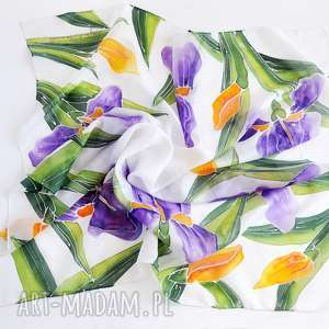 unikalny, jedwabna chusta -irysy, chusta, malowana kwiatowa