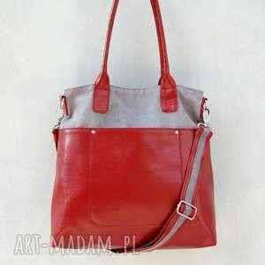 fiella - duża torba szarość i czerwień, wygodna, praktyczna, elegancka, modna