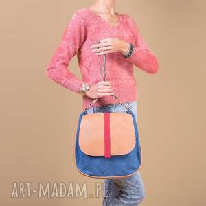 sashka - torebka na ramię granat, beż i czerwień, listonoszka, wygodna, praktyczna