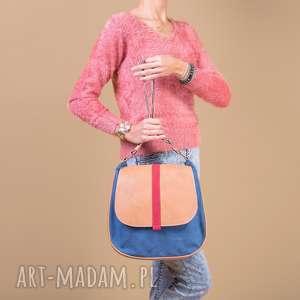 handmade na ramię sashka - torebka na ramię - granat, beż i czerwień